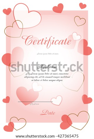 Certificate of pink with hearts - stock vector