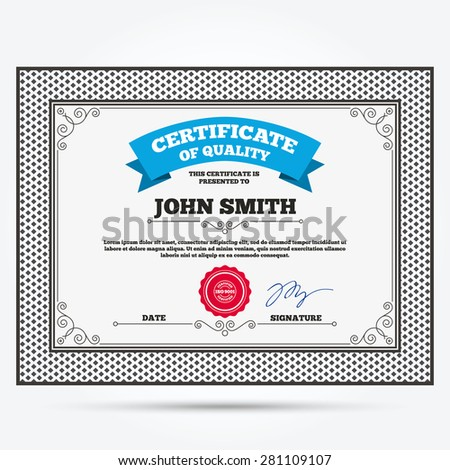 Certificate Quality Iso 9001 Certified Sign Stock Vector 281109107