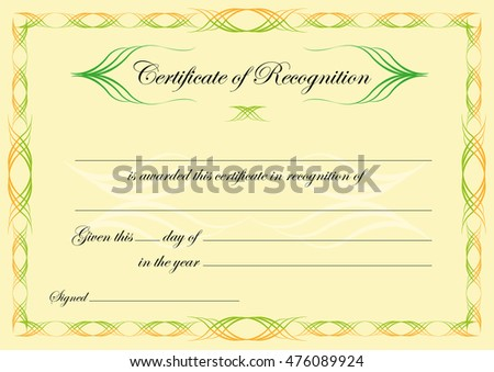 Certificate recognition template classical style swirls stock vector certificate of recognition template in classical style with swirls editable clip art yadclub Choice Image