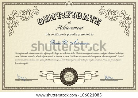 Certificate of success - stock vector
