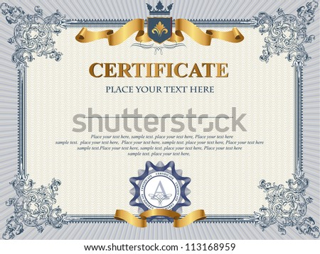 Certificate or coupon template with vintage border - stock vector