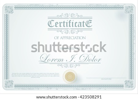 Certificate or diploma retro vintage template design