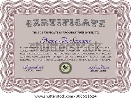 certificate diploma template complex background nice stock vector  certificate or diploma template complex background nice design detailed