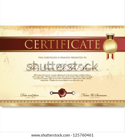 Certificate or diploma template, vector illustration - stock vector