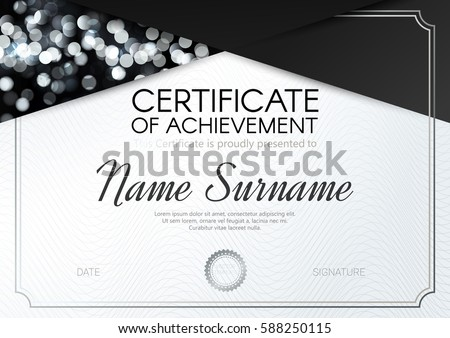 Congratulations certificate stock images royalty free images certificate or diploma template with elegant black silver white design vector illustration yelopaper Images