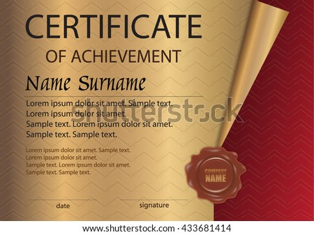 Certificate diploma wax seal template on stock vector 433681414 certificate or diploma with wax seal template on a gold background reward award yelopaper Images