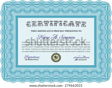 Certificate template. Border, frame.With guilloche pattern. Artistry design.  - stock vector
