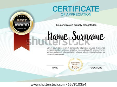 Certificate Template Clean And Modern For Diploma, Official Or Different  Awards Vector Illustration  Official Certificate Template