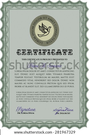 Certificate template. Customizable, Easy to edit and change colors.With background. Artistry design.