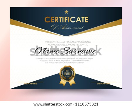 Certificate Template Design A 4 Size Stock Vector 1118573321