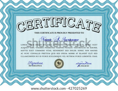 Certificate template. Detailed. Printer friendly. Nice design. Light blue color.
