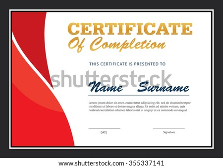 Certificate Template,diploma Layout,A4 Size ,vector  Certificate Layout