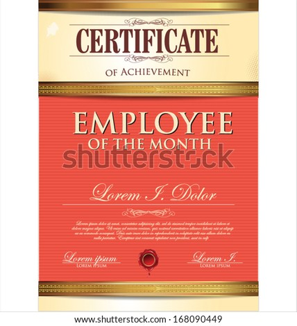 Certificate Template Employee Month Vector 168090443 – Free Employee of the Month Certificate Template