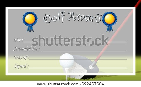 Certificate Template Golf Award Illustration Stock Vector 592457504