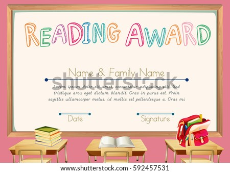 School kids diploma certificate background template stock vector certificate template for reading award illustration yadclub Choice Image
