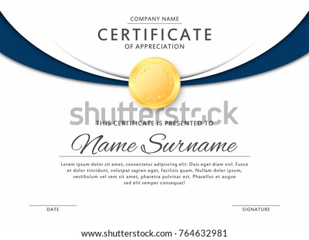 Certificate template elegant black blue colors stock vector certificate template in elegant black and blue colors with golden medal certificate of appreciation yadclub Image collections