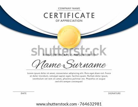 Certificate template elegant black blue colors stock vector certificate template in elegant black and blue colors with golden medal certificate of appreciation yadclub Choice Image