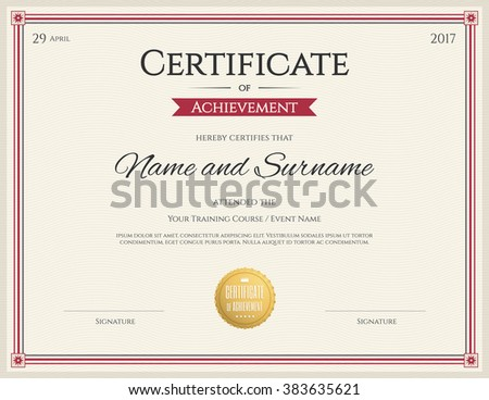 Certificate Template Vector Achievement Graduation Completion