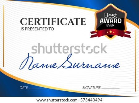 Certificate template luxury award vector business stock vector certificate template luxury award vector business diploma with seal stamp gift coupon or success yadclub Gallery