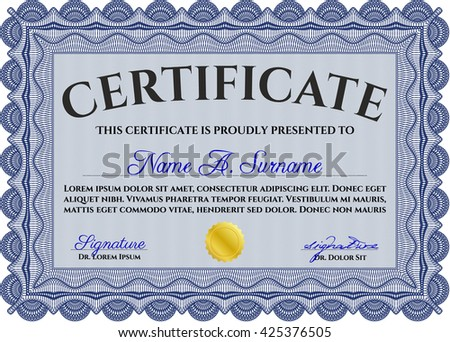Certificate template. Nice design. Printer friendly. Detailed. Blue color.