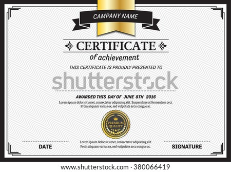 certificate template vector illustration design for company - stock vector