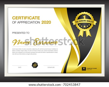 Certificate template vector illustration diploma layout stock vector certificate template vector illustration diploma layout in a4 size gold business flyer design yelopaper Image collections