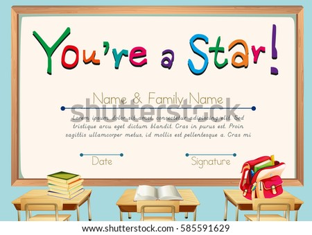 classroom certificate template - illustration kids studying classroom stock vector