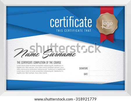 certificate template with clean and modern pattern, Luxury golden,Qualification certificate blank template with elegant,Vector illustration  - stock vector