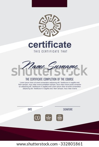 Vector certificate template 328425686 shutterstock certificate template with clean and modern patternvector illustration yelopaper Image collections