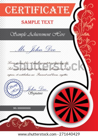 Certificate template with floral ornaments - stock vector
