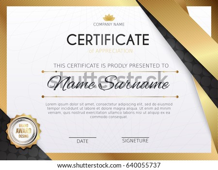 certificate template with golden decoration element design diploma graduation award vector illustration