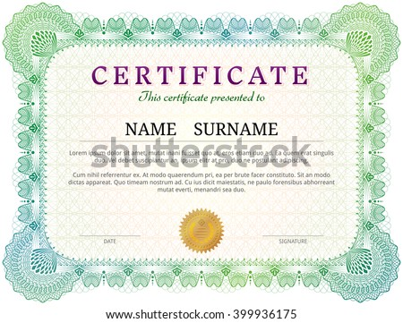 Certificate template with guilloche elements. Green diploma border design for personal conferment. Vector layout for award, patent, validation, license, education, authentication, achievement, etc