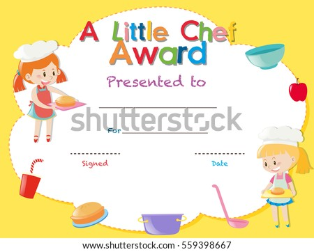 Certificate Template Kids Cooking Illustration Stock Vector ...