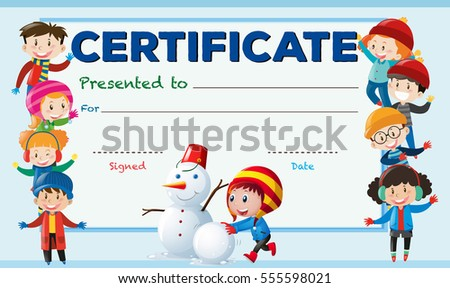 certificate template with kids in winter illustration - Certificate Template For Kids