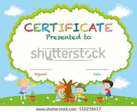 certificate template with kids planting trees illustration
