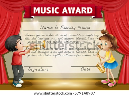 Certificate template kids playing music on stock photo photo certificate template with kids playing music on stage illustration yadclub Gallery