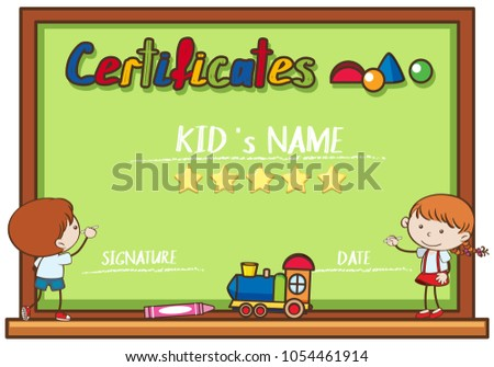 Certificate template kids writing on board stock vector hd royalty certificate template with kids writing on board illustration yelopaper Gallery