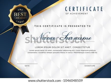 Certificate template luxury modern pattern appreciation stock vector certificate template with luxury and modern pattern appreciation award diploma template of dark blue and yelopaper Gallery