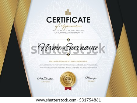 Certificate Template Luxury Golden Elegant Pattern Stock Vector