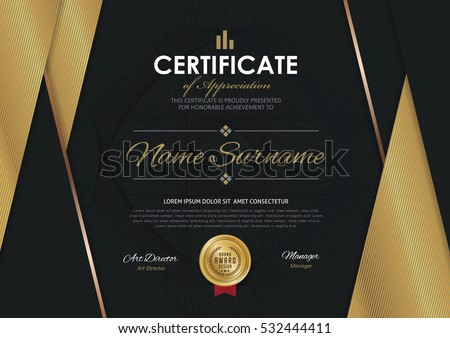Certificate template luxury golden elegant pattern stock vector certificate template with luxury golden elegant pattern diploma design graduation award success yelopaper Image collections
