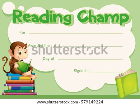 Certificate Template Monkey Reading Book Illustration Stock Photo