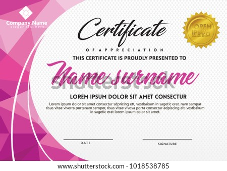 Certificate template luxury rosette bow ribbons stock vector certificate template with polygonal style and modern pattern vector illustration yadclub Image collections
