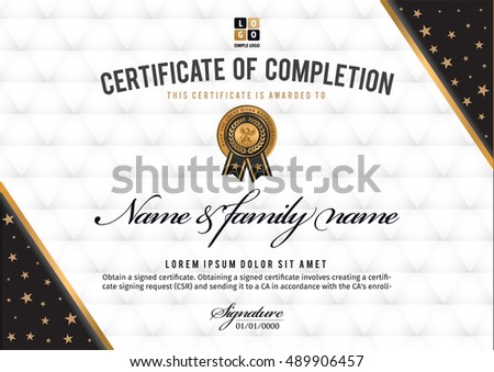 Certificate Vector Luxury Template Certificate Premium Stock Vector