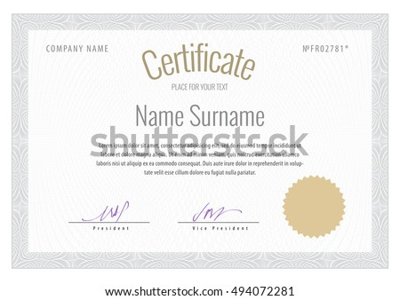 Certificate Vector Template Diplomas Currency Award Stock Vector