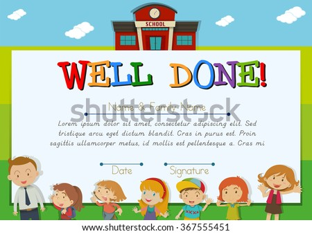 Certificate with children at school background illustration