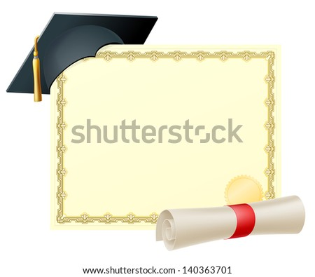 Certificate with copy-space and scroll diploma and mortar board graduation cap - stock vector