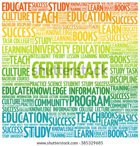CERTIFICATE word cloud, education business concept background