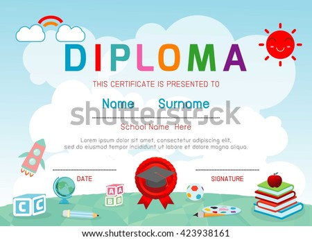 Certificates kindergarten elementary preschool kids diploma stock certificates kindergarten and elementary preschool kids diploma certificate background design template diploma template for yadclub Choice Image