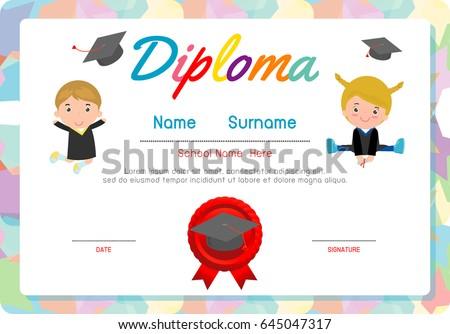 Certificates kindergarten elementary preschool kids diploma stock certificates kindergarten and elementary preschool kids diploma certificate background design template diploma template for yelopaper Image collections