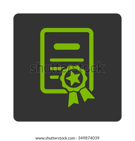Certified Certification vector icon. Style is flat rounded square button, eco green and gray colors, white background. - stock vector